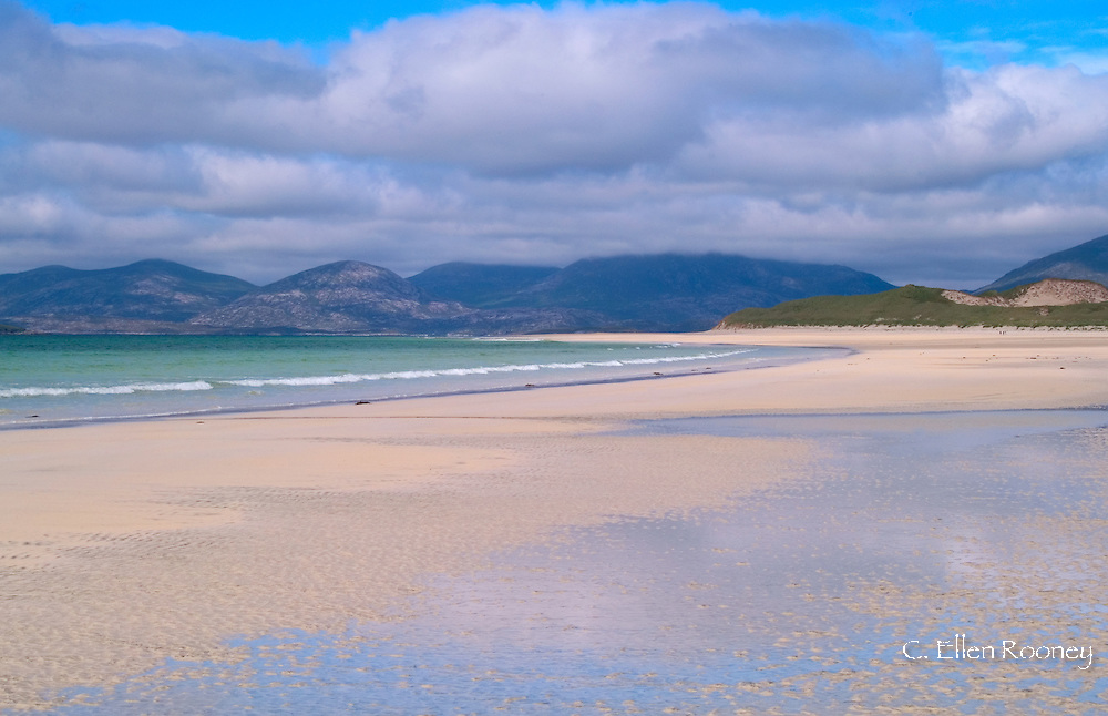 View over the wide white sands of Seilebost Beach, Harris Island<br /> The Outer Hebrides, Scotland, UK<br /> UK