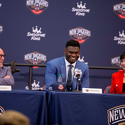 Jun 21, 2019; New Orleans, LA, USA; New Orleans Pelicans owner Gayle Benson and Executive Vice President of Basketball Operations and Zion Williamson the first overall selection in the NBA Draft during an introductory press conference at the New Orleans Pelicans Training Facility. Mandatory Credit: Derick E. Hingle-USA TODAY Sports