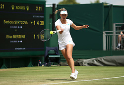 Elise Mertens in her round of 16 match against Barbora Strycova on court 12 on day seven of the Wimbledon Championships at the All England Lawn Tennis and Croquet Club, London.