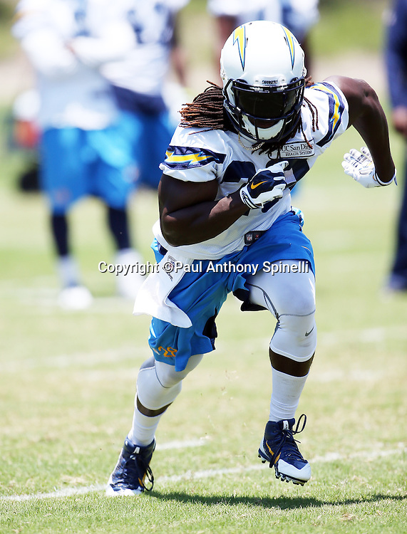 San Diego Chargers rookie running back Melvin Gordon (28) goes out for a pass during the San Diego Chargers Spring 2015 NFL minicamp practice held on Tuesday, June 16, 2015 in San Diego. (©Paul Anthony Spinelli)