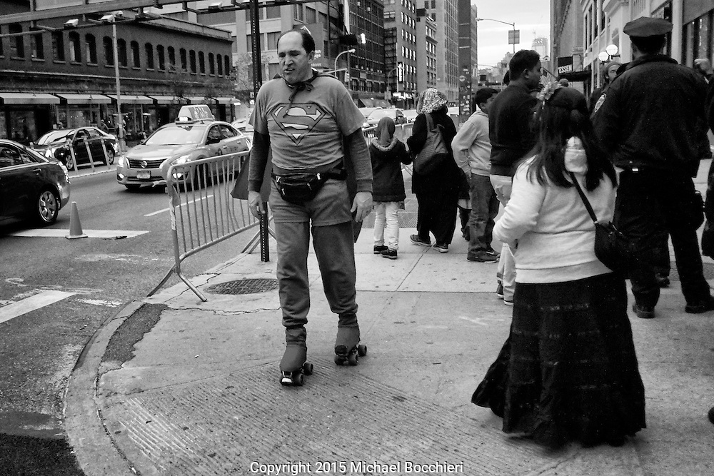 NEW YORK, NY - October 31:  A man dressed as Superman roller-skates wearing a fanny pack on Halloween October 31, 2015 in NEW YORK, NY.  (Photo by Michael Bocchieri/Bocchieri Archive)