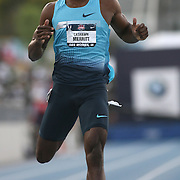 MERRITT- 13USA, Des Moines, Ia. -  Lashawn Merritt coasted to victory in the 400. Photo by David Peterson