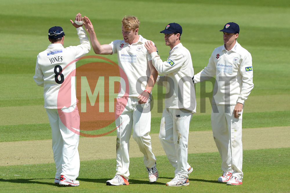 Liam Norwell of Gloucestershire celebrates as he bowls out Sam Northeast - Photo mandatory by-line: Dougie Allward/JMP - Mobile: 07966 386802 - 19/05/2015 - SPORT - Cricket - Bristol - County Ground - Gloucestershire v Kent - LV=County Cricket Division 2