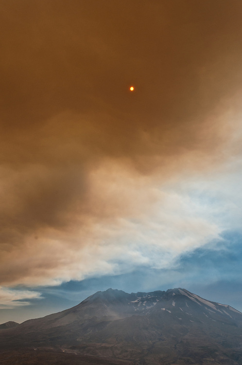 Smoke from wildfires on Mount Hood engulfs the sky above Mt. St. Helens.