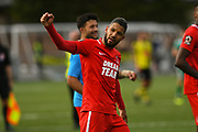 Jobi McAnuff of Leyton Orient (7) salutes the travelling away fans after winning 3-0 at Harrogate Town during the Vanarama National League match between Harrogate Town and Leyton Orient at Wetherby Road, Harrogate, United Kingdom on 22 September 2018.