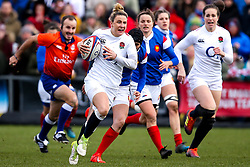 Sarah McKenna of England Women runs with the ball - Mandatory by-line: Robbie Stephenson/JMP - 10/02/2019 - RUGBY - Castle Park - Doncaster, England - England Women v France Women - Women's Six Nations
