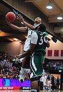 November 28, 2011; Moraga, CA, USA; Weber State Wildcats guard Damian Lillard (1) drives to the basket against Saint Mary's Gaels forward Kenton Walker II (30) during the first half of the Shamrock Office Solutions Classic championship game at McKeon Pavilion.