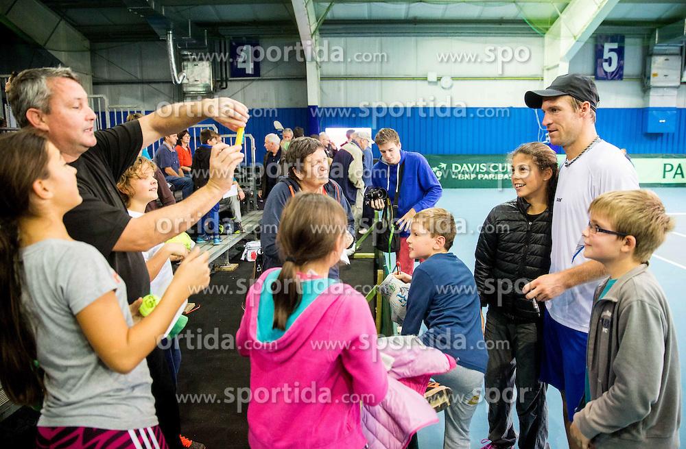 Grega Zemlja of Slovenia with fans during Davis Cup Slovenia vs Lithuania competition, on October 30, 2015 in Kranj, Slovenia. Photo by Vid Ponikvar / Sportida