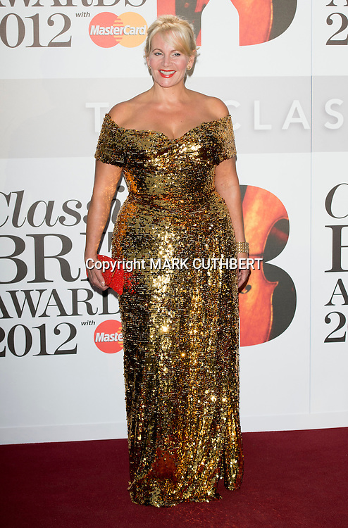 Jackie Llewelyn-Bowen arriving at the 2012 Classic Brit Awards at the Royal Albert Hall in London.