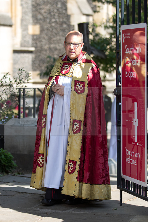 c© Licensed to London News Pictures. 03/06/2018. London, UK. The Dean of Southwark Cathederal Andrew Nunn at Southwark Cathederal, ahead of a service of commemoration to mark one year since the London Bridge and Borough Market terror attacks. A series of events have taken place throughout the day, including a service of commemoration at Southwark Cathedral, the planting of an olive tree in the Cathedral grounds, a minute's silence at 4:30pm and the laying of flowers.  Photo credit : Tom Nicholson/LNP