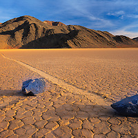 Moving rocks at the Race Track in Death Valley National Park.
