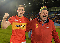 Castlebar&rsquo;s Mitchels supporter Mick Byrne celebrated with Paddy Durkan after the County senior football final win at McHale park.<br /> Pic Conor McKeown
