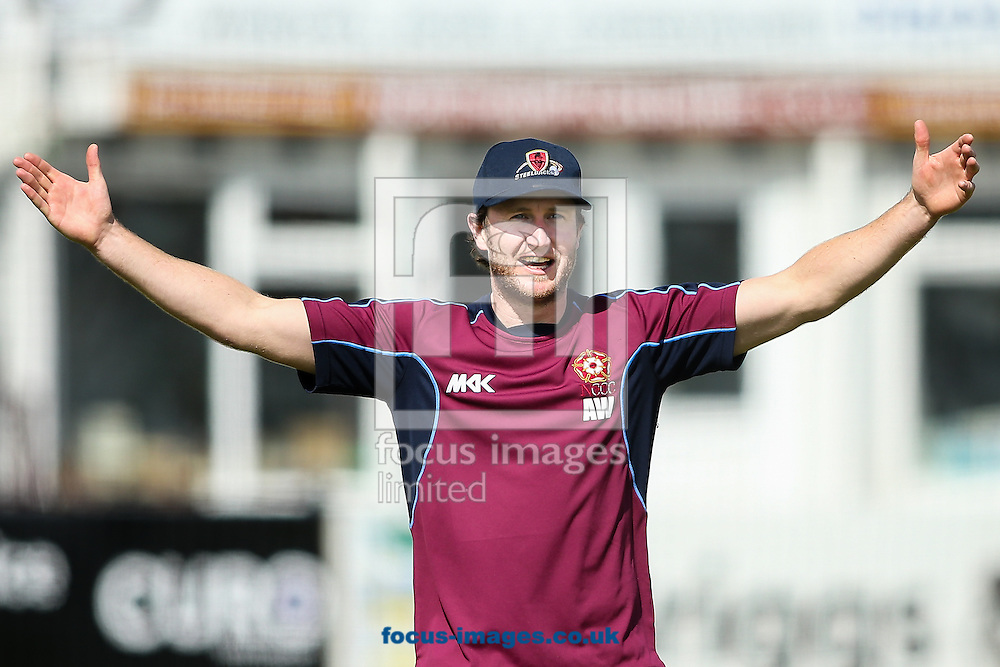Alex Wakely of Northamptonshire CCC before the Specsavers County C'ship Div Two match at the County Ground, Northampton<br /> Picture by Andy Kearns/Focus Images Ltd 0781 864 4264<br /> 16/05/2016
