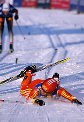 CHANGCHUN, CHINA - SUNDAY, FEBRUARY 25th, 2007: China's Man Dandan falls down during the ladies' 1.1 km sprint race at the 2007 FIS World Cup cross-country skiing event. (Pic by Osports/Propaganda)