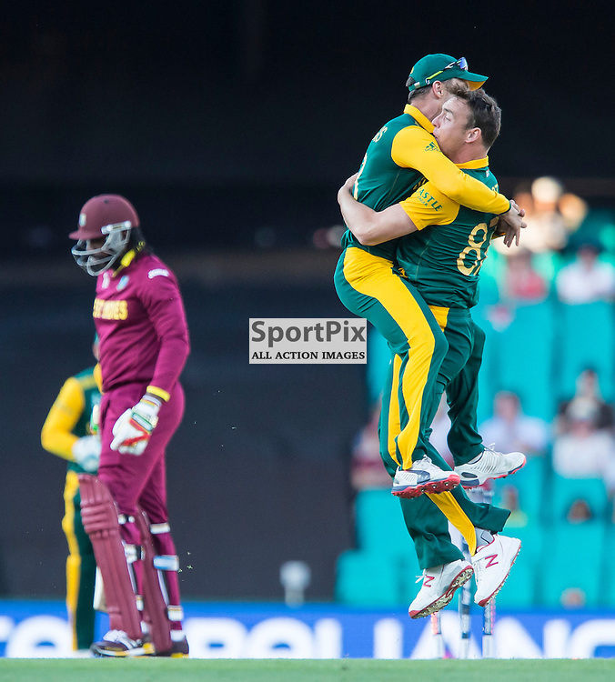 ICC Cricket World Cup 2015 Tournament Match, South Africa v West Indies, Sydney Cricket Ground; 27th February 2015<br /> South Africa&rsquo;s Francois Du Plessis (left) and South Africa&rsquo;s Kyle Abbott after West Indies Chris Gayle was bowled