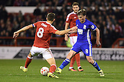 Nottingham Forest midfielder Chris Cohen (8) battles for possession with Birmingham City midfielder Stephen Gleeson (8) during the EFL Sky Bet Championship match between Nottingham Forest and Birmingham City at the City Ground, Nottingham, England on 14 October 2016. Photo by Jon Hobley.