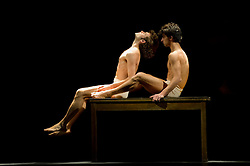 "© Copyright licensed to London News Pictures. 26/10/2010. Pablo Aran Gimeno (as Orest) and Damiano Ottavio Bigi (as Pylades) in ""Iphigenie auf Tauris"", Tanztheater Wuppertal Pina Bausch, Sadler's Wells. A rare performance of Gluck's masterpiece."