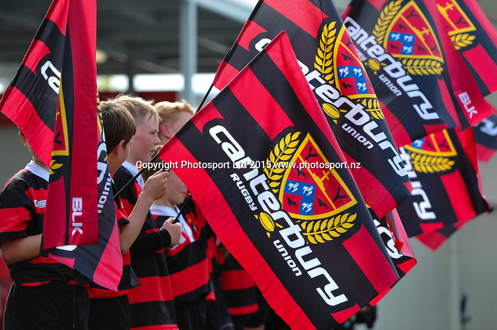 Flags during the ITM Cup Premiership Semi final rugby match, Canterbury v Taranaki, at AMI Stadium, Christchurch, on the 15th October 2015. Copyright Photo: John Davidson / www.photosport.nz
