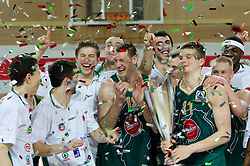 Ilievski, Ozbolt, Boisa, Markota, Jagodnik, Sermadini, Dino Muric, Salin and Pinkney of Union Olimpija celebrate after winning the basketball match between KK Helios Domzale and KK Union Olimpija in Final of Spar Slovenian Cup, on February 13, 2011 in Sportna dvorana Poden, Skofja Loka, Slovenia. Union Olimpija defeated Helios 92-55 and become Slovenian Cup Champion. (Photo By Vid Ponikvar / Sportida.com)