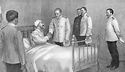 Admiral Togo, victor of the Battle of the Sea of Japan, visiting the defeated Russian Admiral Rozhestvensky in hospital. Russo-Japanese War 1904-1905.