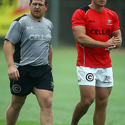 DURBAN, SOUTH AFRICA - FEBRUARY 16: Lourens Adriaanse with Jean Deysel during the Cell C Sharks training session at Growthpoint Kings Park on February 16, 2016 in Durban, South Africa. (Photo by Steve Haag/Gallo Images)