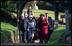 HM The Queen and the Duke of Edinburgh attend Church in  West Newton on her  Sandringham Estate in Norfolk, United Kingdom. Sunday, 2nd February 2014. Picture by Andrew Parsons / i-Images