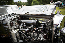 © Licensed to London News Pictures. 07/08/2016. Leeds UK. Picture shows the 3.5 ltr engine of a 1934 Bentley Derby at the 37th Rolls Royce North rally that has taken place this weekend in the ground's of Harewood House in Yorkshire. The event bring's together some of the UK's most prized motor cars & their proud owners. Photo credit: Andrew McCaren/LNP