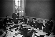 02/06/1964 <br /> 06/02/1964<br /> 02 June 1964<br /> Council of Europe working party meeting opens in Leinster House, Dublin. the two day meeting of the working party on relations with national parliaments of the Consultative Assembly of the Council of Europe was opened by Mr George Colley T.D., Chairman of the Irish Parliamentary Delegation to Strasburg. Picture shows Mr Colley (second from left) addressing the meeting. Also in the picture are from left: Mr Karl Czernetz, (Austria), Chairman; Mr. Colley; Mr J.C. Smyth, Secretary of the Irish Delegation and Clerk of the Irish Senate; Miss Dagmar Basziszta, Acting Secretary of Austrian Delegation; Mr Henry M. Clark M.P. (North Antrim), United Kingdom Delegate and Mr Brendan Crinion, T.D., Irish Delegate.