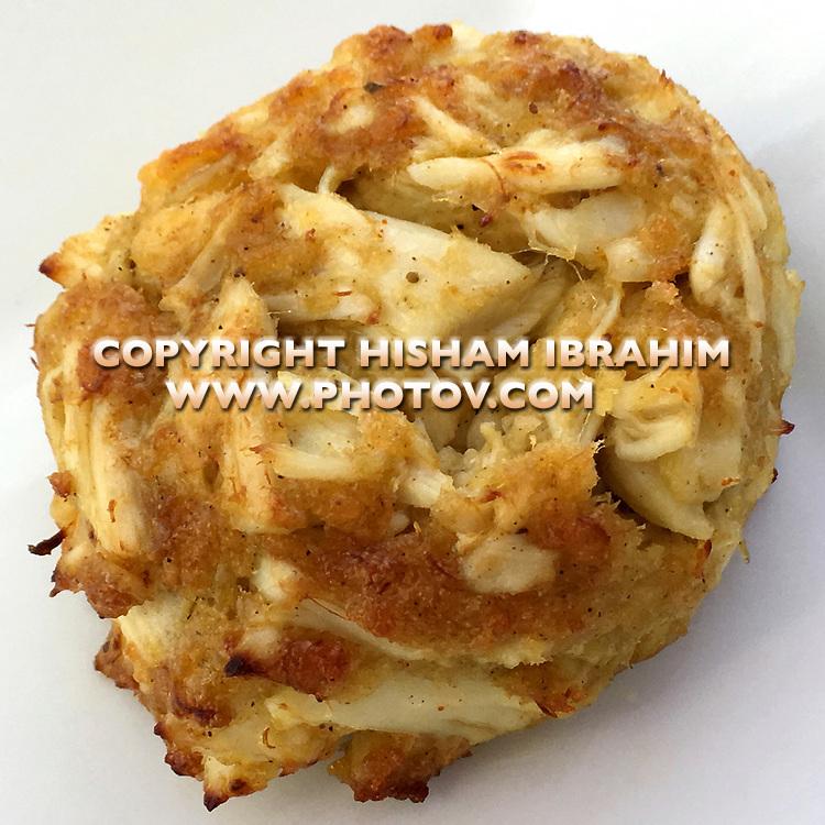 Famous Maryland Crab Cake, close-up.