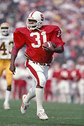 Darrin Nelson #31 of Stanford University in action vs ASU on Oct 24, 1981 at Stanford Stadium in Palo Alto, California.  Photo © 1981 David Madison.