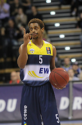 12.04.2015, Brose Arena, Bamberg, GER, Beko Basketball BL, Brose Baskets Bamberg vs EWE Baskets Oldenburg, Top Four 2015, Finale, im Bild Casper Ware ( EWE Baskets Oldenburg ) // during the Beko Basketball Bundes league TOP FOUR 2015 final match between Brose Baskets Bamberg and EWE Baskets Oldenburg at the Brose Arena in Bamberg, Germany on 2015/04/12. EXPA Pictures © 2015, PhotoCredit: EXPA/ Eibner-Pressefoto/ Langer<br /> <br /> *****ATTENTION - OUT of GER*****