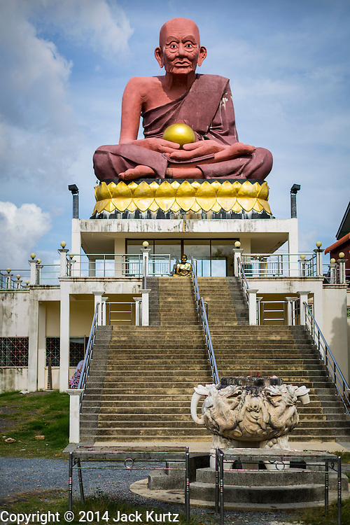 29 JULY 2014 - HAT YAI, SONGKHLA, THAILAND: A large statue of the Buddha at Wat Khok Samankhun in Hat Yai.Hat Yai is the 4th largest city in Thailand and the largest outside of the Bangkok metropolitan area. It's less the 50 miles from the Malaysian border and is a popular vacation spot for Malaysian and Singaporean tourists.       PHOTO BY JACK KURTZ