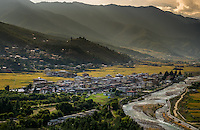 PARO, BHUTAN - CIRCA October 2014: View of Paro and Paro Chu rive in, Bhutan