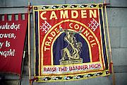 May Day march and rally at Trafalgar Square, May 1st, 2010 Camden Trades Council banner