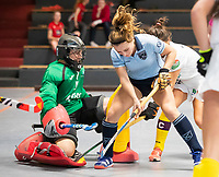 HAMBURG  (Ger) - 06  LMHC Laren v Club Campo de Madrid (Esp) (6-4)   foto: Mila Muyselaar (Laren) with goalkeeper Maria Ruiz Castillo (Madrid)    Eurohockey Indoor  Club Cup 2019 Women . WORLDSPORTPICS COPYRIGHT  KOEN SUYK