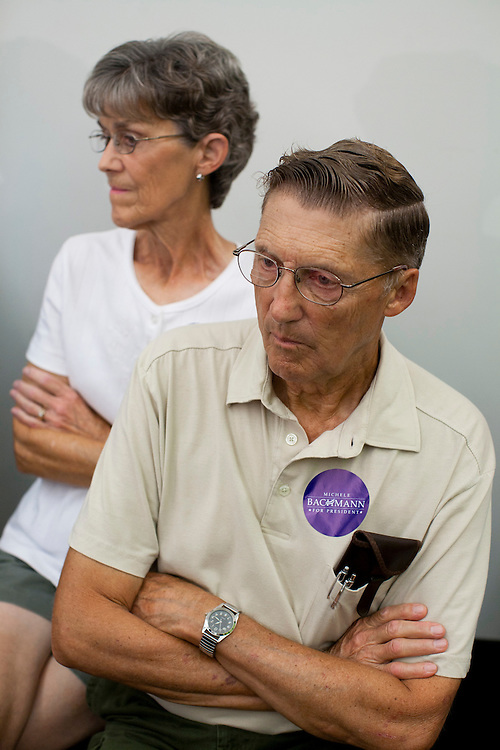 Attendees at a town hall meeting held by Republican presidential hopeful Michele Bachmann on Saturday, July 23, 2011 in Marshalltown, IA.