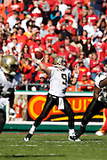 KANSAS CITY, MO - NOVEMBER 16:  Drew Brees #9 of the New Orleans Saints throws a pass against the Kansas City Chiefs at Arrowhead Stadium on November 16, 2008 in Kansas City, Missouri.  The Saints defeated the Chiefs 30-20.  (Photo by Wesley Hitt/Getty Images) *** Local Caption *** Drew Brees
