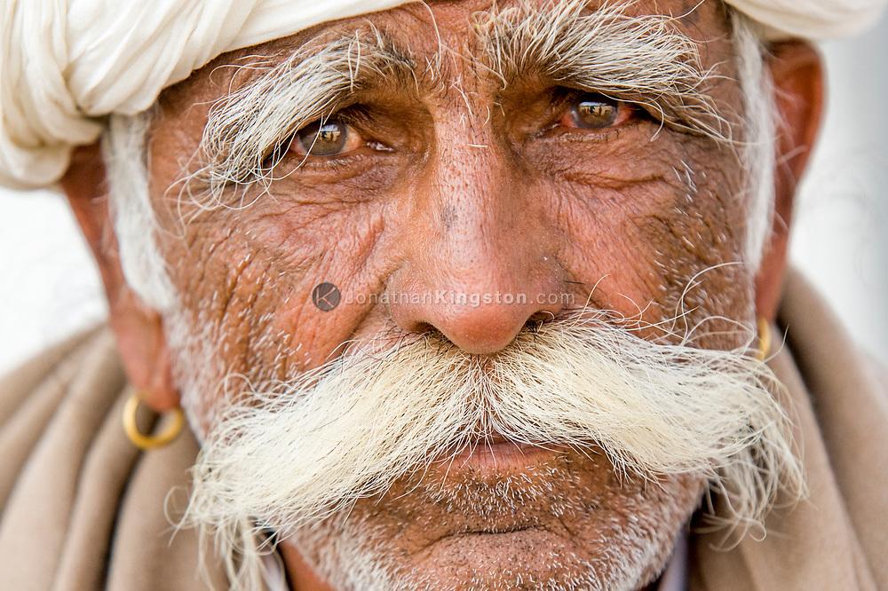 Portrait of a contestant in a moustache competition, Pushkar, India.