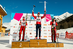 January 31, 2018 - Goms, Switzerland - Denis Spitsov of Russia, Mattis Stenshagen of Norway and Ivan Yakimushkin of Russia on the podium after the men's 15km classic technique interval start during the FIS U23 Cross-Country World Ski Championships. (Credit Image: © Vegard Wivestad Gr¯Tt/Bildbyran via ZUMA Press)
