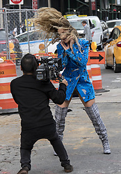 Rita Ora in blue filming a music video in meat packing district, New York. 05 Oct 2017 Pictured: Rita Ora. Photo credit: SM / MEGA TheMegaAgency.com +1 888 505 6342