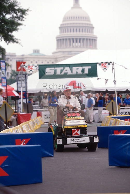 "WASHINGTON, DC - September 11: Senarot Ben Nighthorse Campbell participates in K-Mart's ""Race Against Drugs"" in Washington, DC. September 11, 1997  (Photo RIchard Ellis)"