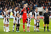 St Mirren Keeper Craig Samson of St Mirren alongside club captain Stephen McGinn of St Mirren, Anton Ferdinand of St Mirren & Cammy Smith of St Mirren with the 4 mascots ahead of the Ladbrokes Scottish Premiership match between St Mirren and Hibernian at the Simple Digital Arena, Paisley, Scotland on 29th September 2018.