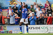 Carlisle United Jabo Ibehre reacts as his goal is disallowed during the EFL Sky Bet League 2 match between Morecambe and Carlisle United at the Globe Arena, Morecambe, England on 8 October 2016. Photo by Pete Burns.