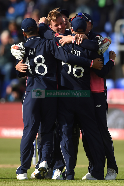 England's Jake Ball celebrates the wicket of New Zealand's Ross Taylor during the ICC Champions Trophy, Group A match at Cardiff Wales Stadium.