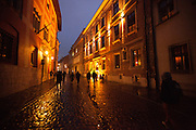 street scene at night in Krakow