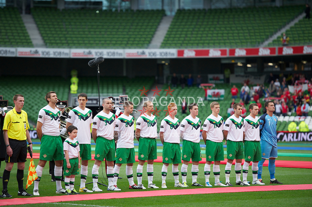 DUBLIN, REPUBLIC OF IRELAND - Friday, May 27, 2011: Northern Ireland players line-up to face Wales during the Carling Nations Cup match at the Aviva Stadium (Lansdowne Road). L-R; captain Gareth McAuley, Craig Cathcart, Colin Coates, Oliver Norwood, Warren Feeney, Robert Garrett, Josh Carson, Jonny Gorman, Niall McGinn, Lee Hodson and goalkeeper Jonathan Tuffey. (Photo by David Rawcliffe/Propaganda)