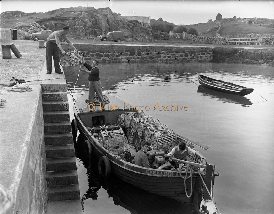 at Carna. Fishing Pier Boat Bulding with the Cloherty family..14/05/1959.<br />