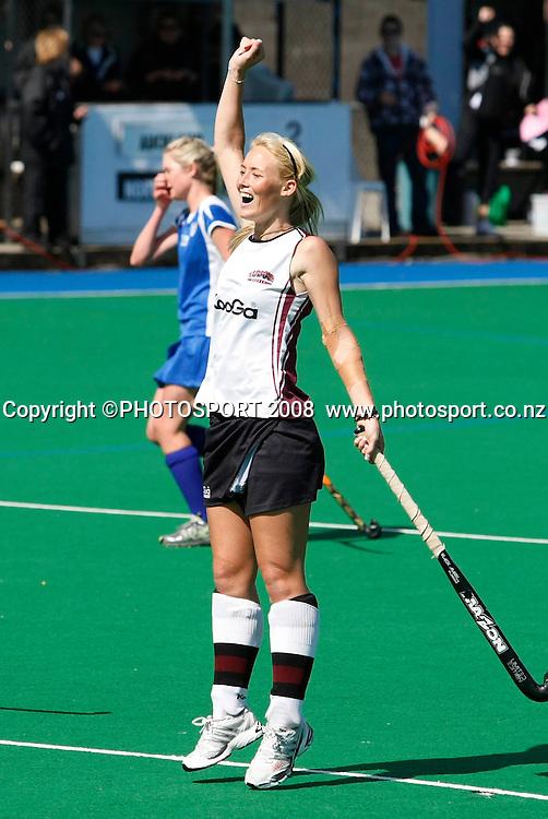 North Harbour's Karlie Maloney celebrates her winning goal in golden goal over time. Hockey, National Hockey League Women's Final, Lloyd Elsmore Park, Auckland, New Zealand, Sunday 28 September.