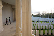 Young children visit 2369 WW1 commonwealth burials and commemorations of war graves at Vis-en-Artois cemetery