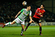 Jake Gray (10) of Yeovil Town and Ander Herrera (21) of Manchester United battle for possession during the The FA Cup 4th round match between Yeovil Town and Manchester United at Huish Park, Yeovil, England on 26 January 2018. Photo by Graham Hunt.